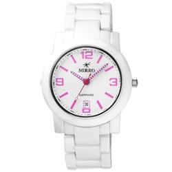 MIRRO 典藏愛戀時尚都會陶瓷腕錶-白粉紅/37mm