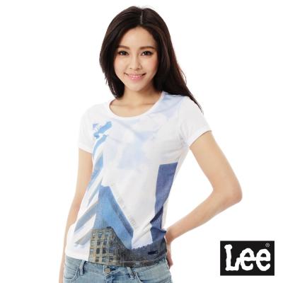 Lee 數位印刷短袖T恤-女-白