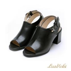 LisaVicky復古繞帶露趾魚口穆勒款粗跟涼鞋-黑色