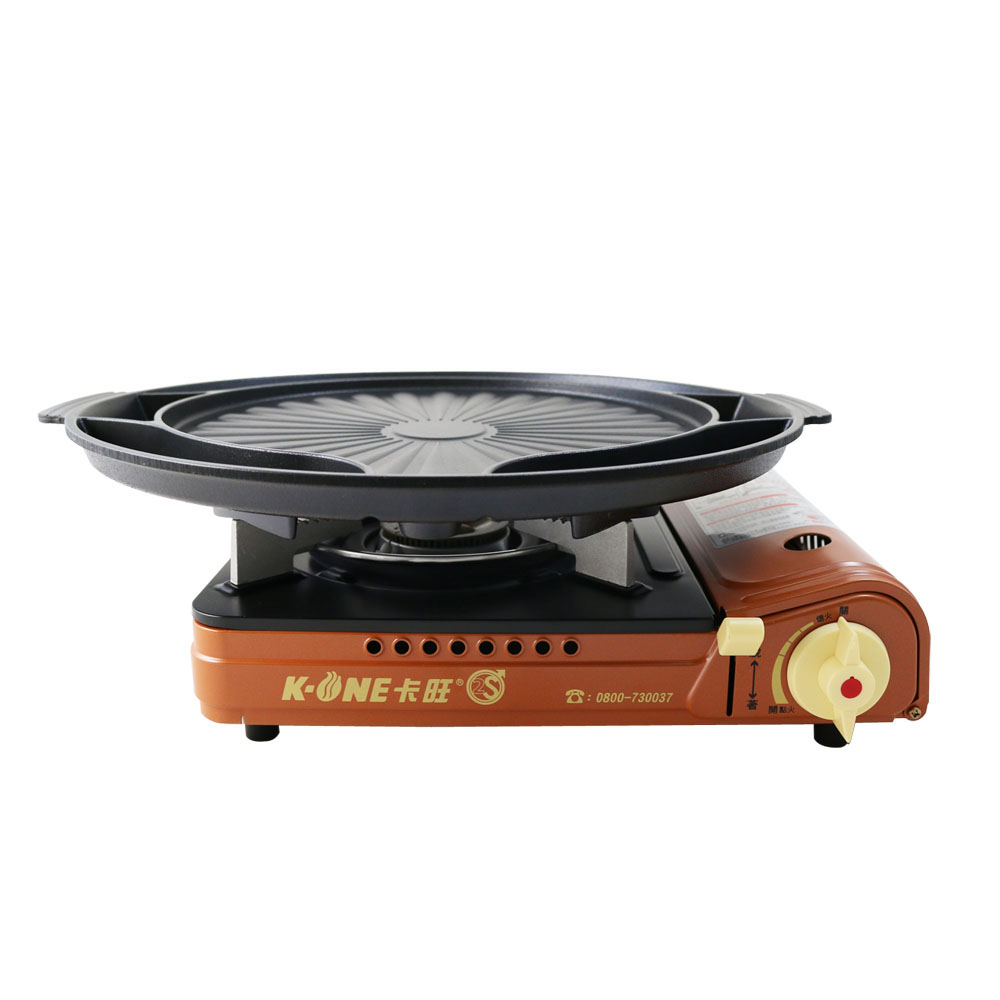 卡旺K1-A001D雙安全卡式爐+韓式多功能烤盤ST-1600P