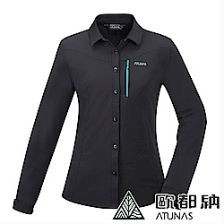 【ATUNAS 歐都納】女款吸濕排汗防曬防蚊彈性長短袖襯衫A-S1805W黑