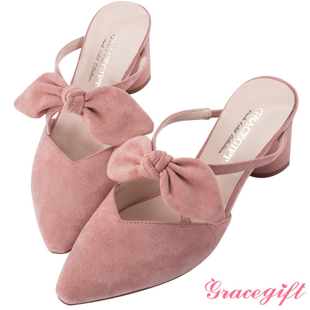 Grace gift-蝴蝶結尖頭漆跟穆勒鞋 粉