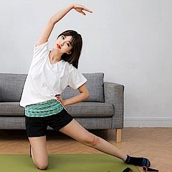 反摺混色腰頭拼接彈性運動短褲.3色-OB大尺碼