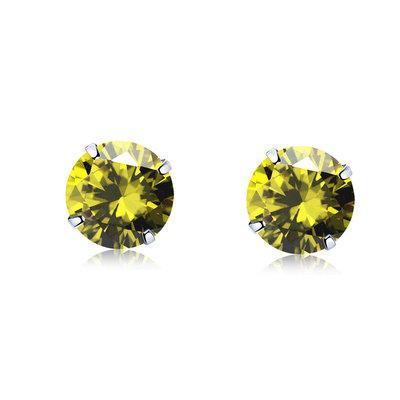 ACUBY 925純銀驚彩鋯石單鑽耳環/3mm橄欖綠