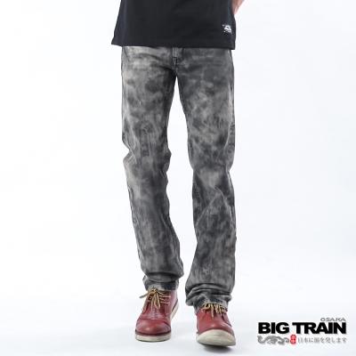 BIG TRAIN 鉚釘配皮小直筒褲-男-灰黑