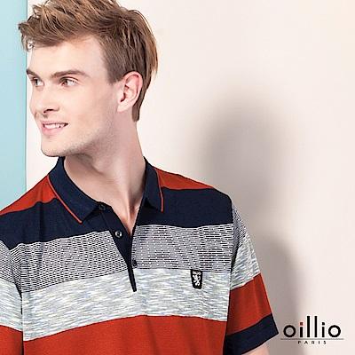 歐洲貴族oillio 短袖POLO領線衫 對稱條紋 休閒穿搭 紅色