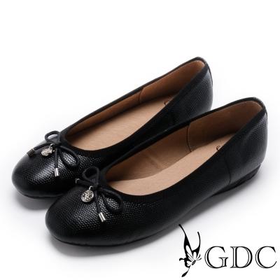 GDC-真皮絕美紋路蝴蝶結平底娃娃鞋-黑色