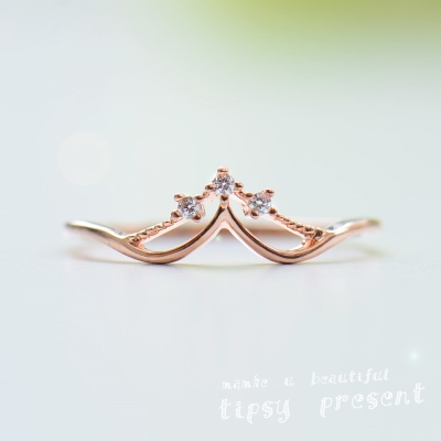 微醺禮物 鋯石 鍍K金 公主的皇冠 戒指
