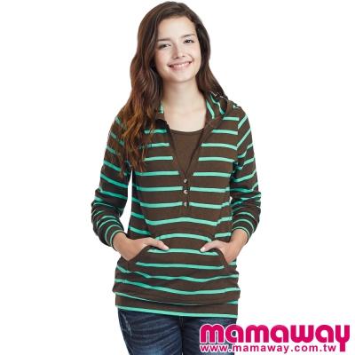 Mamaway-經典橫紋長版孕哺帽T-共三色