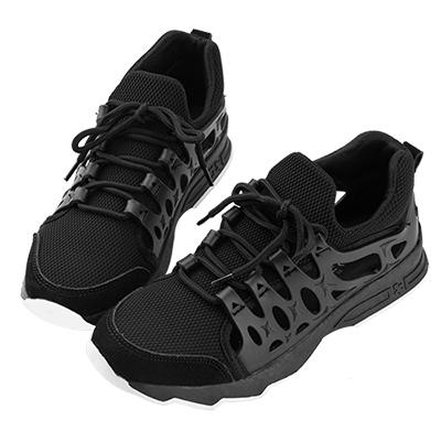 Robinlo & Co. 時尚異材質鏤空休閒運動鞋 黑色