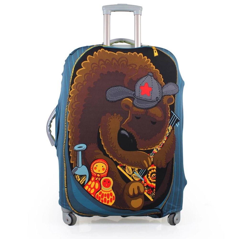 PUSH! 旅遊用品俄羅斯娃娃熊行李箱彈力保護套防塵套拖運套24寸適合22寸-26寸行李箱