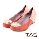 TAS 透明釦飾異材質配色拼接內增高娃娃鞋-蜜桃橘