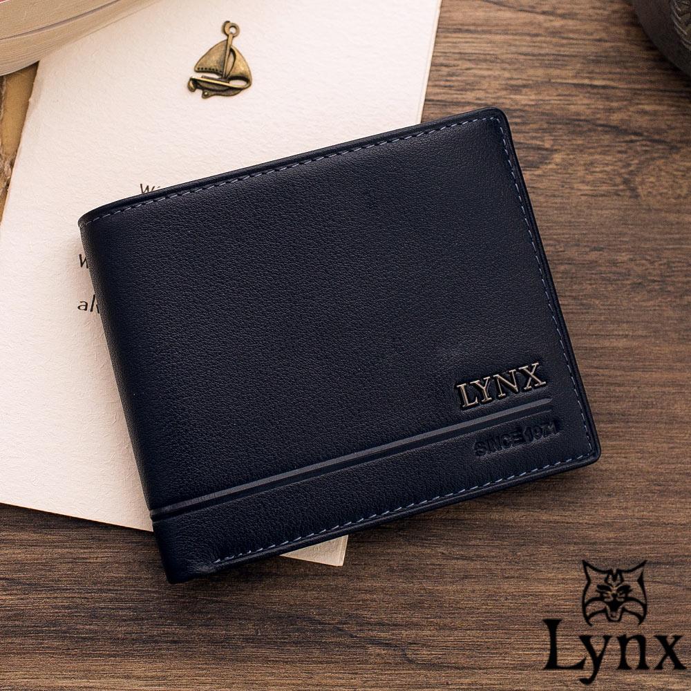Lynx - 山貓簡約品味真皮款8卡1照短夾-共2色