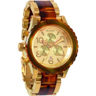 NIXON The 40-20 CHRONO 強眼魅力運動腕錶鋼帶-玳瑁玫瑰金/42mm