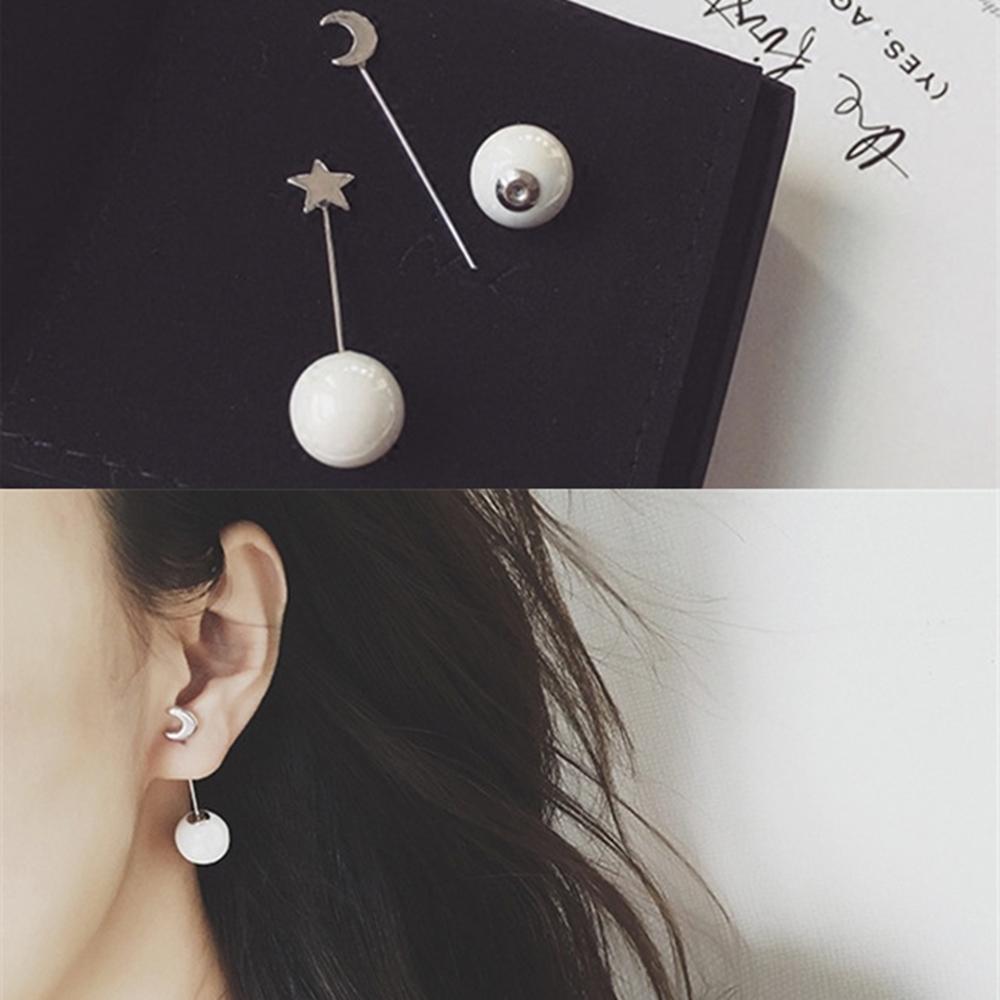 梨花HaNA  韓國微微星月傾城珍珠串線耳環