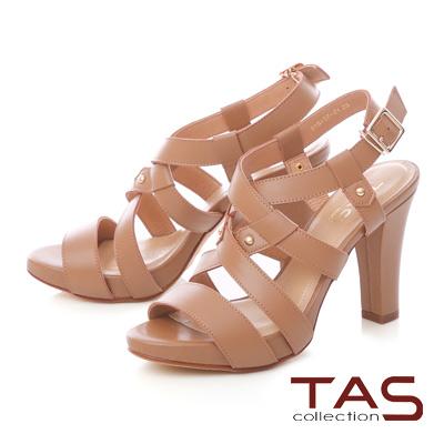 TAS 素面交叉繞踝鏤空高跟涼鞋-俐落卡其