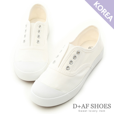 D-AF-活力自在-奶油頭無綁帶休閒帆布鞋-白