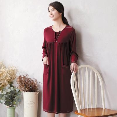 華歌爾 美麗諾羊毛 M-L 長袖圓領裙裝(紅)-睡眠研究所-家居服-舒適保暖