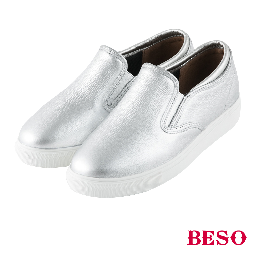 BESO 雨天必備 素面簡約舒適懶人雨鞋~銀