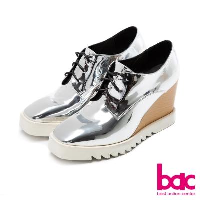 bac中性風尚方頭紳士綁帶楔形厚底深口鞋銀