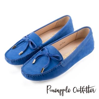 Pineapple Outfitter 簡約時尚  經典蝴蝶結真皮莫卡辛鞋-藍色