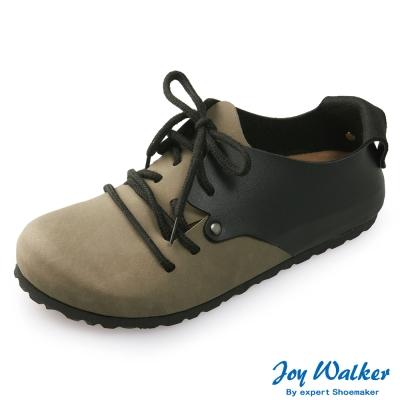 Joy Walker 休閒撞色拼接綁帶包鞋*卡其黑