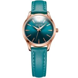 JULIUS 聚利時 微星綻耀彎針設計皮帶腕錶-孔雀綠/30mm