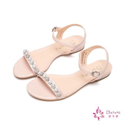 達芙妮DAPHNE-花漾佳人珠飾花鑽一字帶平底涼鞋