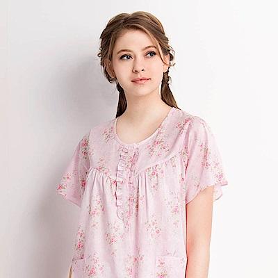 羅絲美睡衣-晨曦花園短袖褲裝睡衣(櫻花粉)