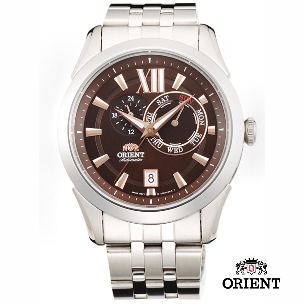 ORIENT 東方錶 DAY & DATE系列 日期星期機械錶-咖啡色/42mm