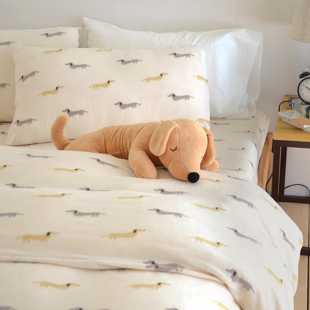 絲薇諾 米色帕比狗狗-搖粒絨床包(被套)四件組-雙人加大款