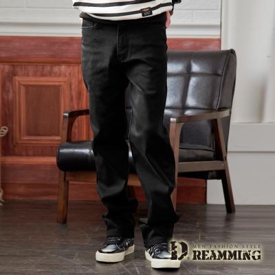 Dreamming 保暖加厚內刷毛伸縮中直筒休閒長褲-黑色