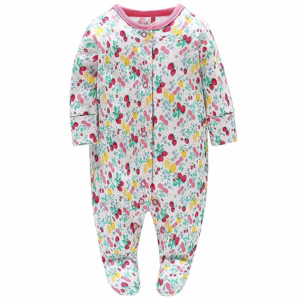 Baby unicorn 水果印花長袖包腳連身衣