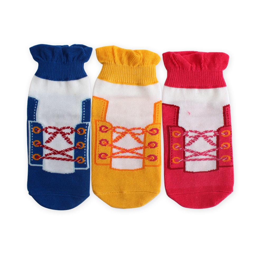 裕發 防滑造型假鞋帶童襪3入組