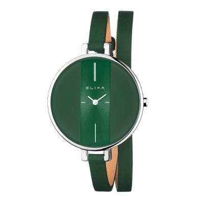 ELIXA Finesse系列銀框  橄欖綠錶盤/橄欖綠皮革纏繞式錶帶38mm