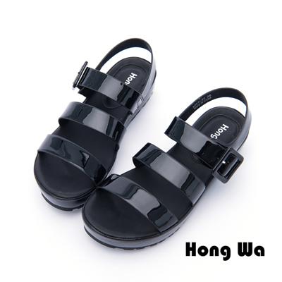 Hong Wa - 夏日派對漆皮釦環羅馬涼鞋 - 黑