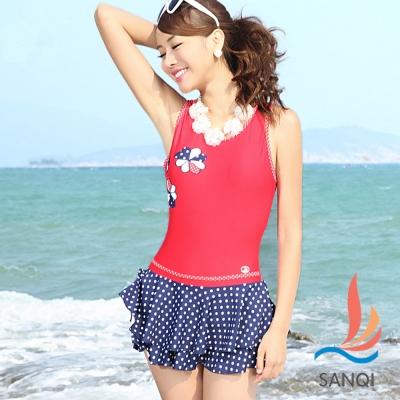 SANQI三奇 俏麗拼花 一件式連身泳衣(紅藍M~XL)