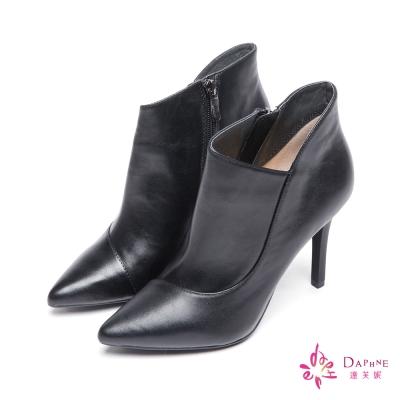 達芙妮x高圓圓-圓漾系列法式優雅尖頭斜口高跟短靴