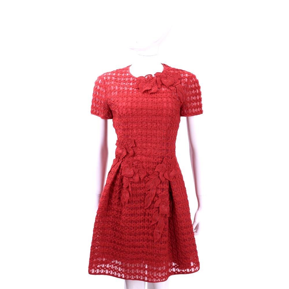 ALBERTA FERRETTI 紅色織花拼接羊毛短袖洋裝
