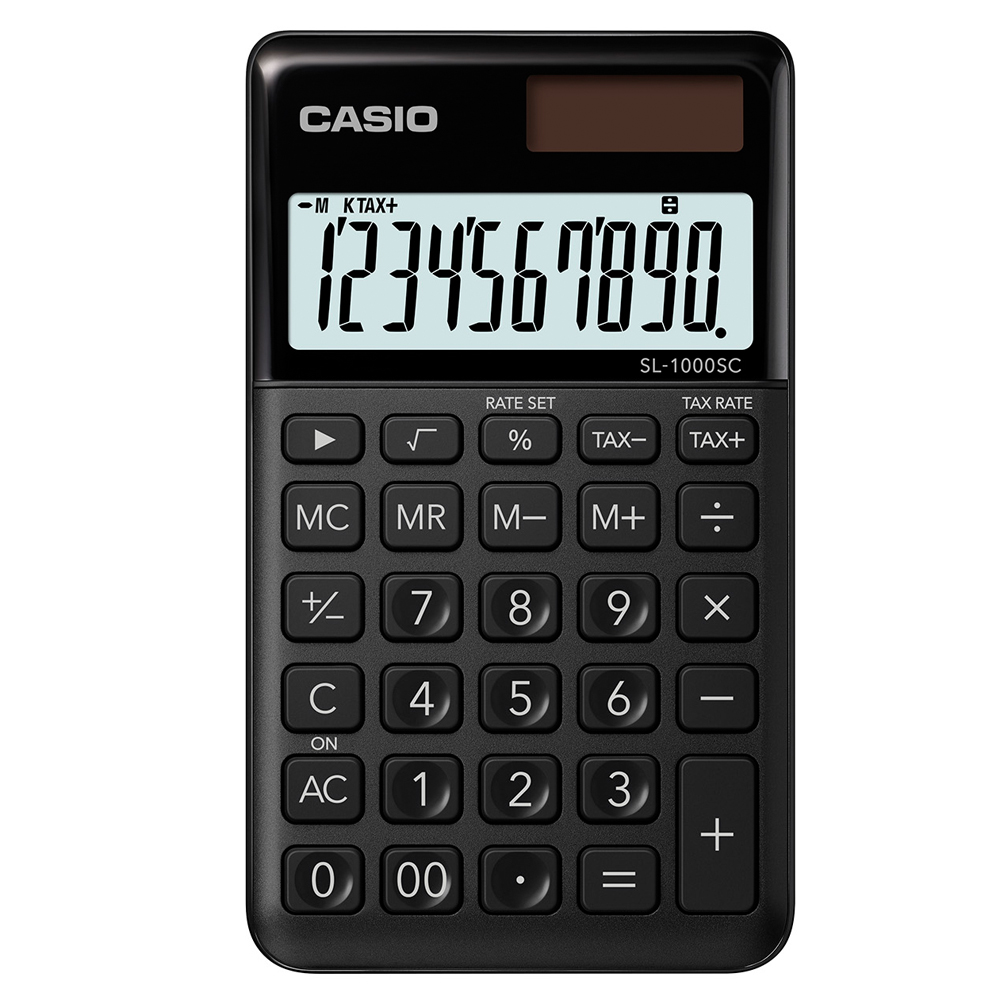 CASIO 10位元時尚霧面系列攜帶型計算機(SL-1000SC-BK)-耀岩黑