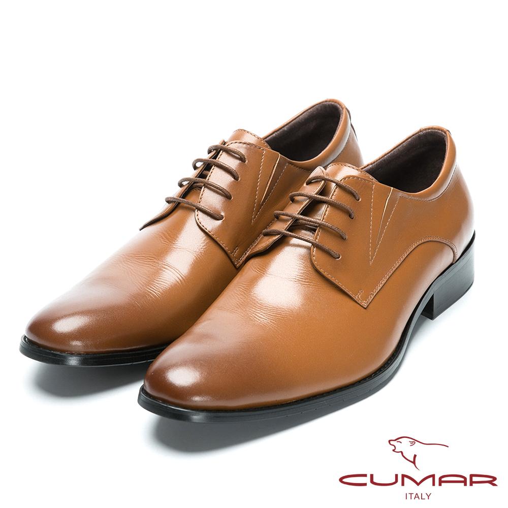 CUMAR舒適真皮 綁帶牛皮素面皮鞋-棕色