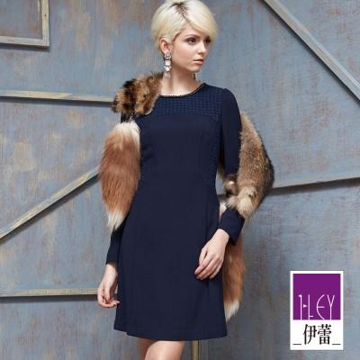 ILEY伊蕾-蕾絲棉質彈性修身洋裝-藍