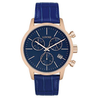 LOVME 城市獵人個性時尚手錶-IP玫x藍/43mm