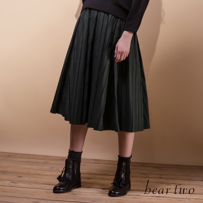 beartwo自然垂墜感傘狀條紋及膝裙-二色