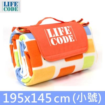LIFECODE絨布加厚野餐墊-夾2mm海綿+覆防水鋁膜(小號195x145cm)
