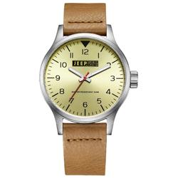 Jeep Spirit 美式派對美國復古風腕錶-淡黃X淺褐色/42mm