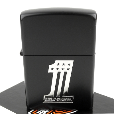 【ZIPPO】日系~Harley-Davidson-哈雷-銀燻黑蝕刻數字款-黑