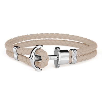 PAUL HEWITT 德國出品 PHREP 榛果褐皮革繩編織 銀色船錨手環