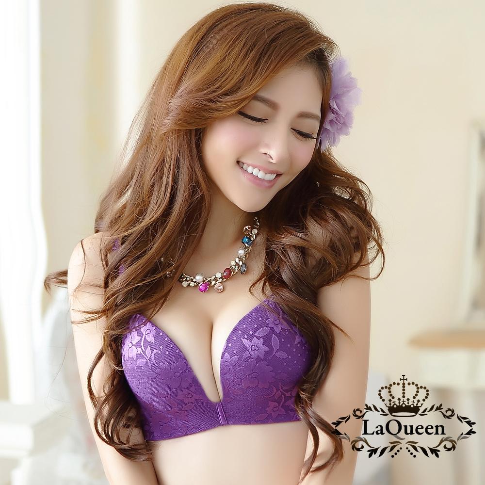 內衣  提花膠原蛋白內襯無鋼圈成套內衣-紫 La Queen