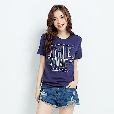 101原創 樂觀短袖T恤上衣(男女適穿)-深藍